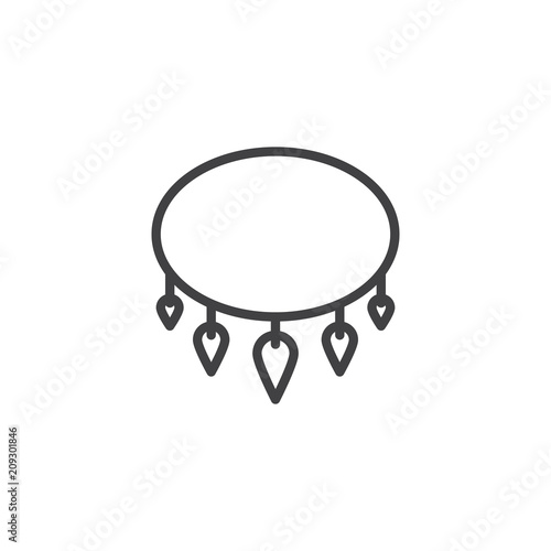 Fototapeta Necklace with shark tooth outline icon. linear style sign for mobile concept and web design. Ancient necklace simple line vector icon. Symbol, logo illustration. Pixel perfect vector graphics