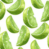 Lime slices seamless pattern set in realistic graphic vector illustration in bright colors
