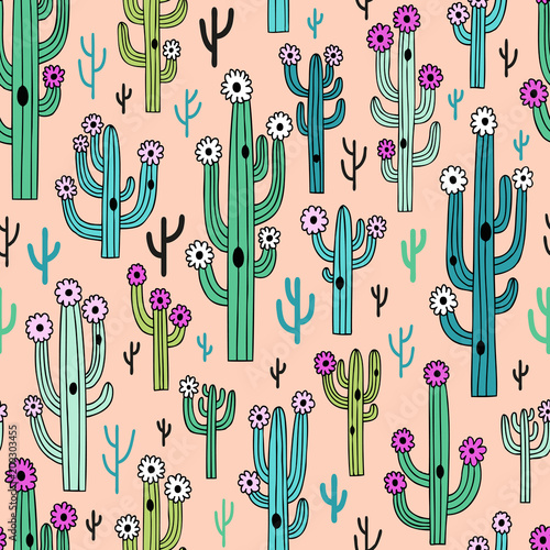 Cute blooming vector cactuses on pastel pink background. Perfect for fabric, wallpaper, wrapping paper or nursery decor.