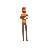 Young man holding sleeping cat pet in his hands cartoon vector Illustrations on a white background