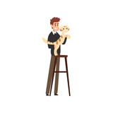 Young man presenting his purebred cat at cat breeds show cartoon vector Illustrations on a white background