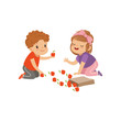 Cute boy and girl sitting on the floor and playing with apples, kids sharing fruit vector Illustration on a white background - 209305618