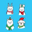 Cartoon cute animals Christmas vector.