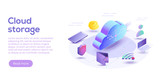 Cloud computing or storage isometric vector illustration. 3d concept with smartphone and laptop gadgets. Online data transfer website header layout. Digital network connection and interaction. - 209308665