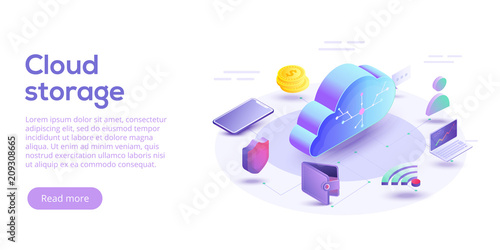 Fototapeta Cloud computing or storage isometric vector illustration. 3d concept with smartphone and laptop gadgets. Online data transfer website header layout. Digital network connection and interaction.