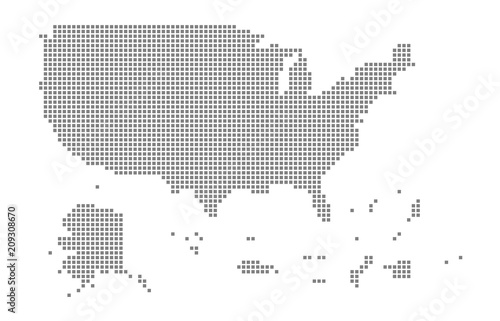 Pixel map of USA Territories. Vector dotted map of USA Territories ...