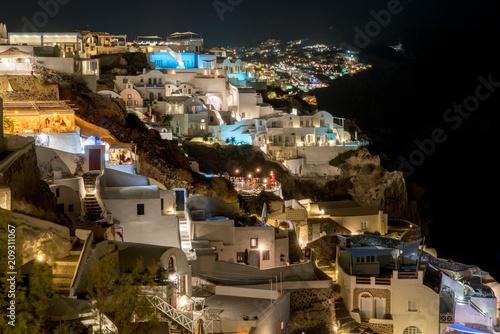 Beautiful Panorama of Santorini (Oia) lit up at night