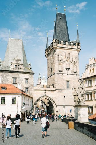 Poster People and tourists on the Charles bridge - Little Tower - Prague