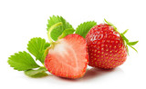 fresh red strawberries with green leaves - 209315024
