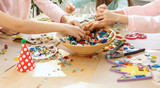 mosaic puzzle art for kids, children's creative game. two sisters are playing mosaic - 209317246