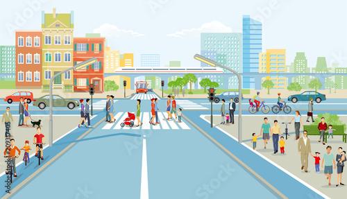 Fridge magnet Straßenkreuzung mit Fußgänger und  Autoverkehr, Illustration