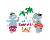 The vector image of the amusing hippopotamuses having a rest on the beach. A children's illustration in cartoon style isolated on a white background. - 209322894