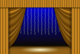 Theatrical scene. Theater curtain, lights garlands and searchlight beam. Scene background - 209324249