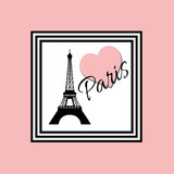 Paris text design illustration with Eiffel Tower and pink heart decoration in black and white frame on pink background