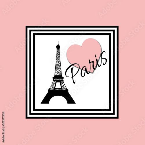 Wall mural Paris text design illustration with Eiffel Tower and pink heart decoration in black and white frame on pink background