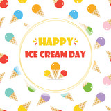 Cute cartoon card, illustration for Ice Cream Day with colorful ice cream seamless pattern background. - 209333095