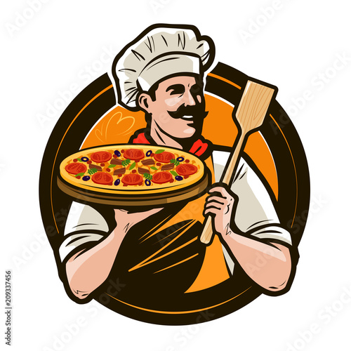 Pizzeria, fast food logo or label. Happy chef holding pizza and scapula in hands. Vector illustration - 209337456