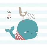 Cute whale and seagull with slogan. Vector hand drawn illustration. - 209339878