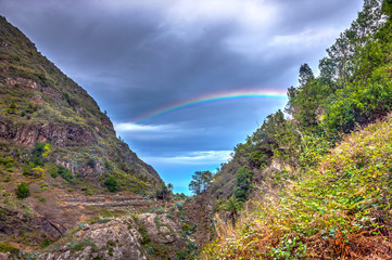 Rainbow over the mountains of La Gomera