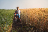 The boy is riding a bicycle across the field with wheat yellow and green. Sunny weather in a solitary place. - 209349202
