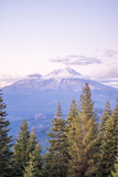 Clouds at midpoint of Mt Shasta - at Dusk - 209349458