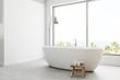 White panoramic bathroom interior side view