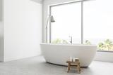 White panoramic bathroom interior side view - 209350221