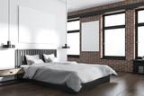 White and brick bedroom corner, poster - 209350602