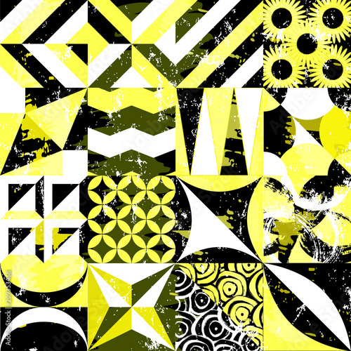 Aluminium Abstract met Penseelstreken abstract geometric background pattern, with strokes and splashes, grungy style
