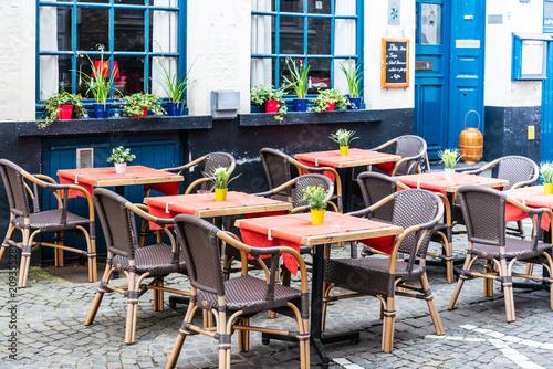 Fotobehang Brugge BRUGES, BELGIUM - April 13, 2018: restaurant in Bruges, Belgium