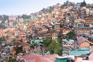 Colorful buildings on the side of a mountainside on a dawn morning. Shot in shimla it shows the sloping roof buildings with trees in between