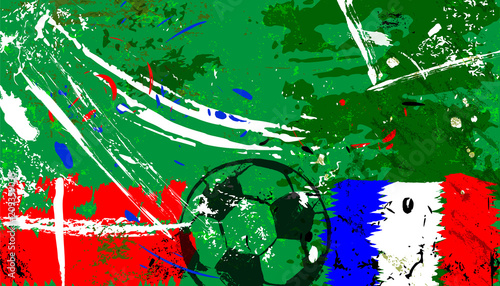 Aluminium Abstract met Penseelstreken abstact background, with soccer/football, denmark vs: france, grungy style