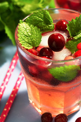 Cocktail with cranberries close-up. Cranberry drink with ice and mint, selective focus.