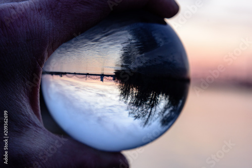 Bridge and Reflection in Crystal Ball during sunset