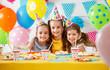 Leinwanddruck Bild - n's birthday. happy kids with cake