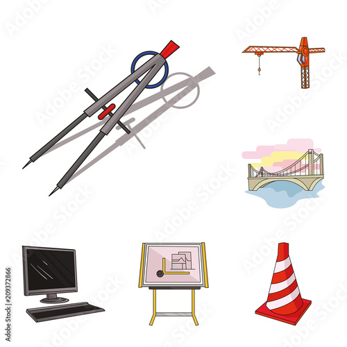 Wall mural Architecture and construction cartoon icons in set collection for design. Architect and equipment vector symbol stock web illustration.