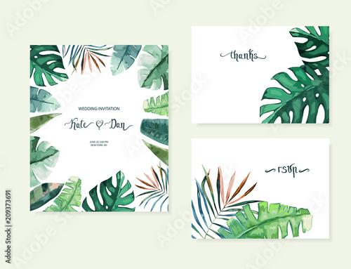 Egzotyczne tropikalne palmy. Tło obramowania ramki. Ilustracja wektorowa lato. Zestaw szablonów do karty. Styl akwareli
