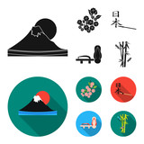 Geta, sakura flowers, bamboo, hieroglyph.Japan set collection icons in black, flat style vector symbol stock illustration web.