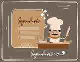 Cartoon Chef ingredients of dish Flat Vector Illustration Design - 209388228