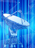 Satellite Dishes Antenna - doppler radar, digital wave and blue technology background - abstract illustration of science, astronomy, information technology, network solutions  and digital technologies - 209390866