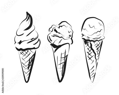Vector sketch ice cream in cone