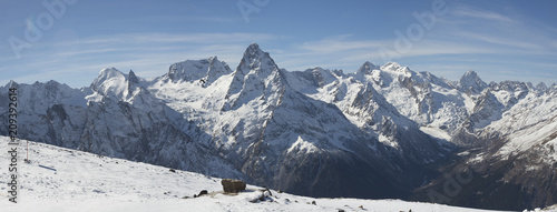 The North Caucasus mountains View of Dombai valley