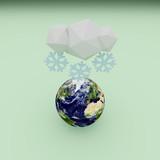 Planeta Tierra nevando, 3D. - 209398878