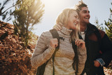 Couple enjoying on their hiking trip