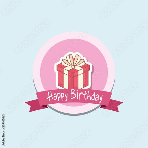 happy birthday frame with gift box vector illustration design