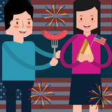 couple with sausage and sandwich fireworks and flag american independence day vector illustration - 209403057