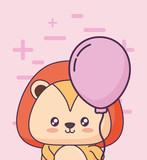 birthday card with cute lion kawaii character vector illustration design - 209403210