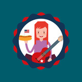 woman holds hot dog and guitar in american independence label vector illustration - 209403444