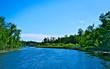 Beautiful Mississippi River flows north in Bemidji Minnesota
