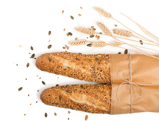 Two bread with mix seed grain cereals.